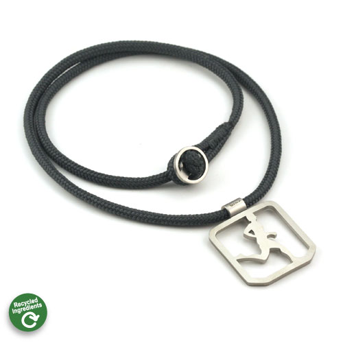 Running Guy Square Pendant 3mm