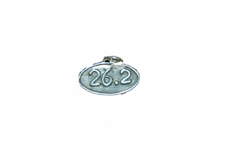 Sterling Silver Necklace- With 26.2 Oxidized Oval Charm