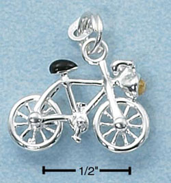 BICYCLE W/ BLACK SEAT & YELLOW CZ HEADLIGHT CHARM