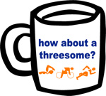 how about a threesome? Ceramic Coffee Mug - White