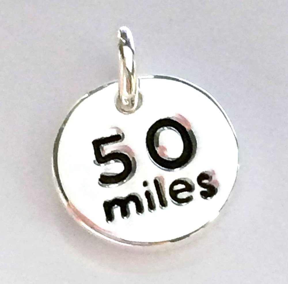 Silver Plated 50 miles disc charm