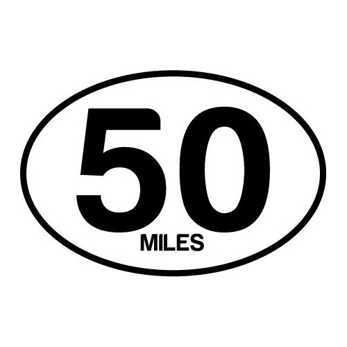 50 miles Oval Decal