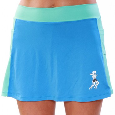 Color Panel Athletic Running Skirt w/Compression Shorts