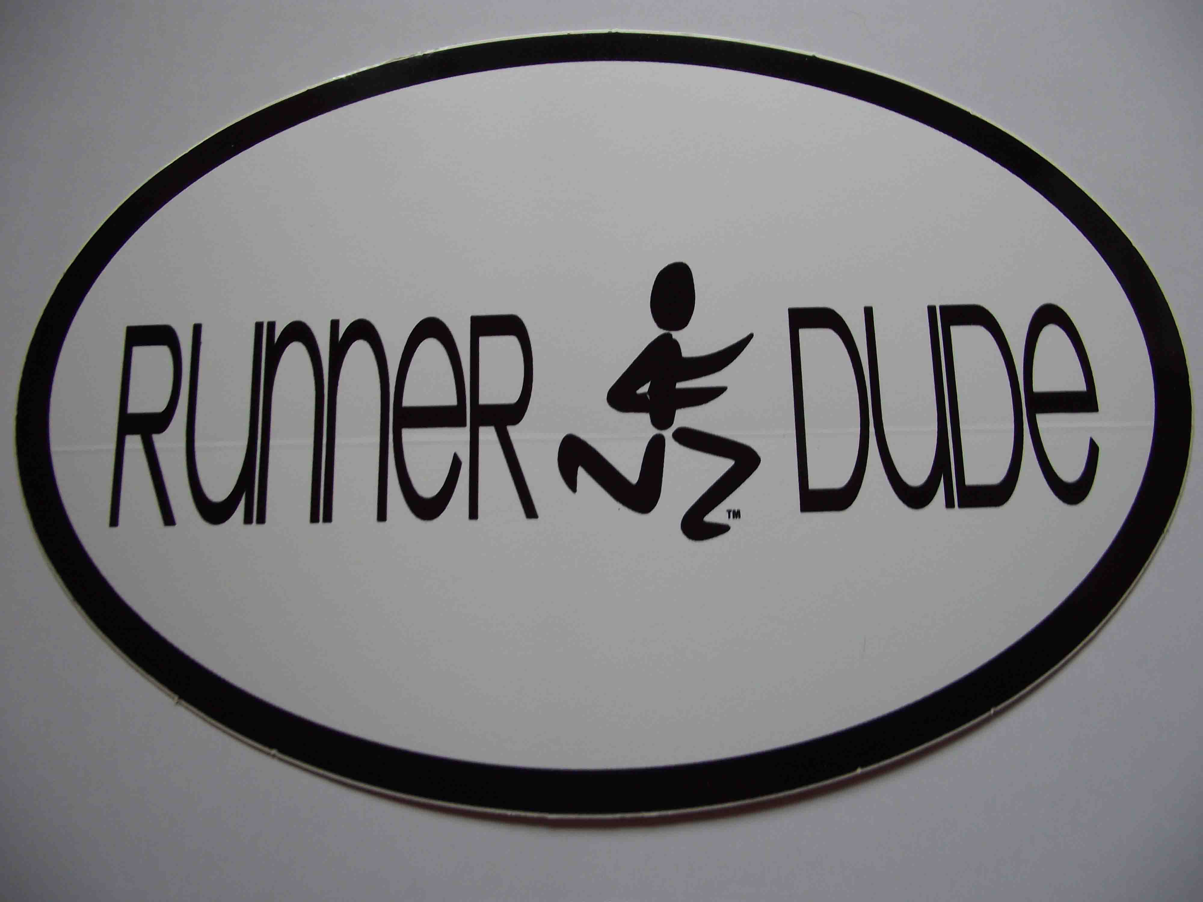 Runner Dude Oval Decal White