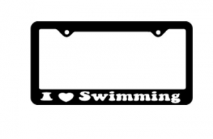 I ♥ Swimming License Plate Frame