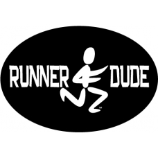 Runner Dude Oval Decal Black - Click Image to Close