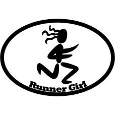 Runner Girl Oval Decal