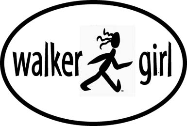 Walker Girl Oval Car Magnet