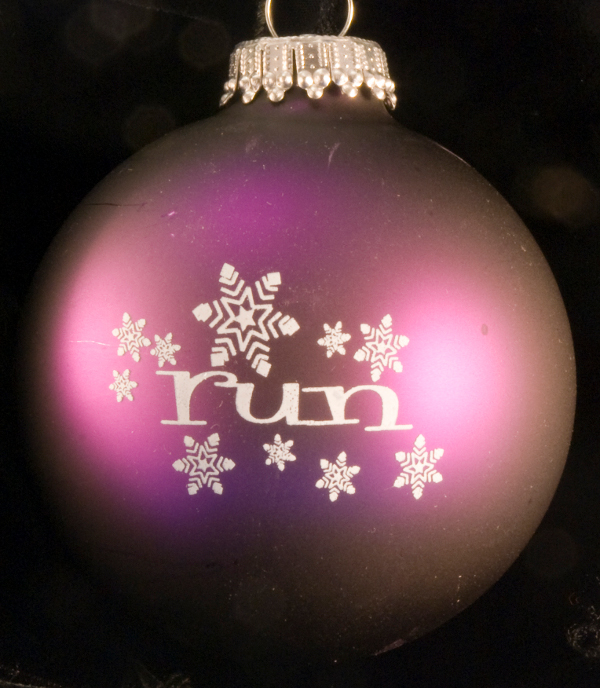 run w/ snowflakes Christmas Ornament