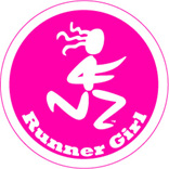 Runner Girl Round Color Sticker - Click Image to Close