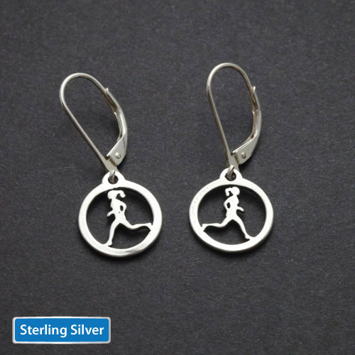 Running Gal Earrings Sterling Silver - Click Image to Close