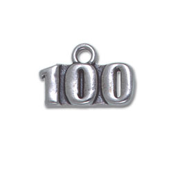 "Sterling Silver Necklace - With ""100"" charm/pendant"