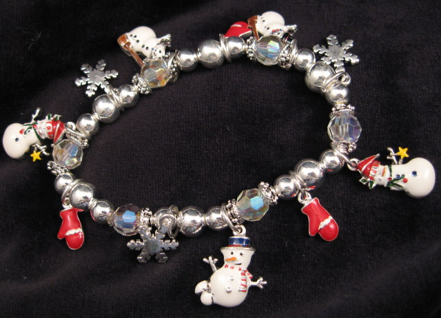 Snowmen and Red Mittens Holiday Bracelet