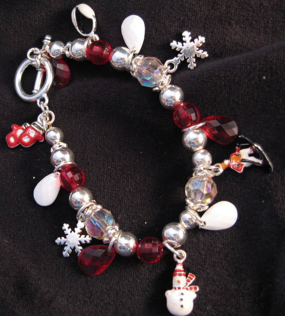 Red and White beaded snow flake Bracelet
