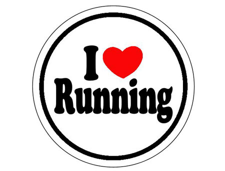 I ♥ running round sticker