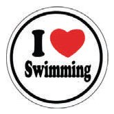 I ♥ Swimming Round Sticker