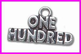 "Sterling Silver Necklace - With ""One Hundred"" charm/pendant"