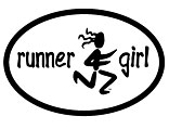 Runner Girl Oval Car Magnet