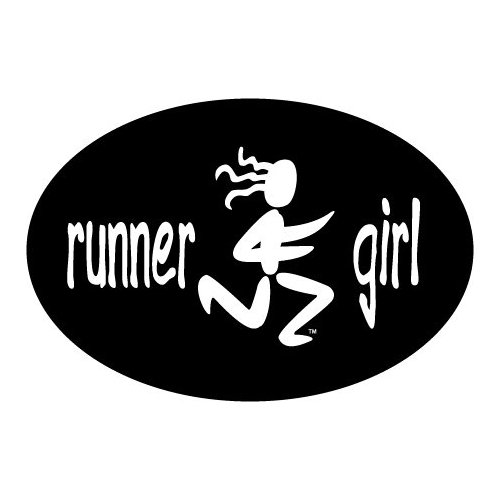 Runner Girl Oval Car Magnet - Click Image to Close