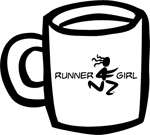 Runner Girl Ceramic Coffee Mug - White/black