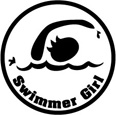 Swimmer Girl Round Sticker