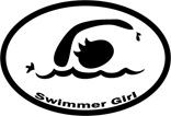 Swimmer Girl Oval Car Magnet - Click Image to Close