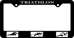Triathlon with figures License Plate Frame