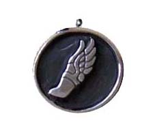 Winged Foot Oxidized Round Charm