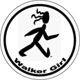 Walker Girl Round Sticker - Click Image to Close